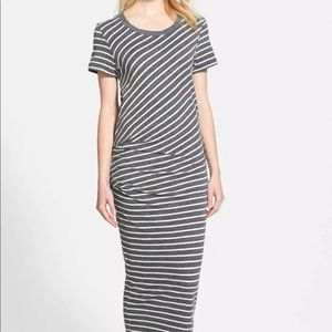 JAMES PERSE Gray Striped Tucked Maxi Dress